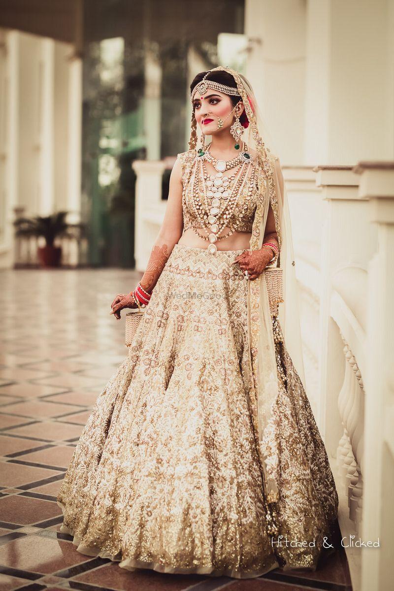 Photo Of Gold Bridal Lehenga Inspiration Wedding Lehenga Designs Golden Bridal Lehenga Indian Bride