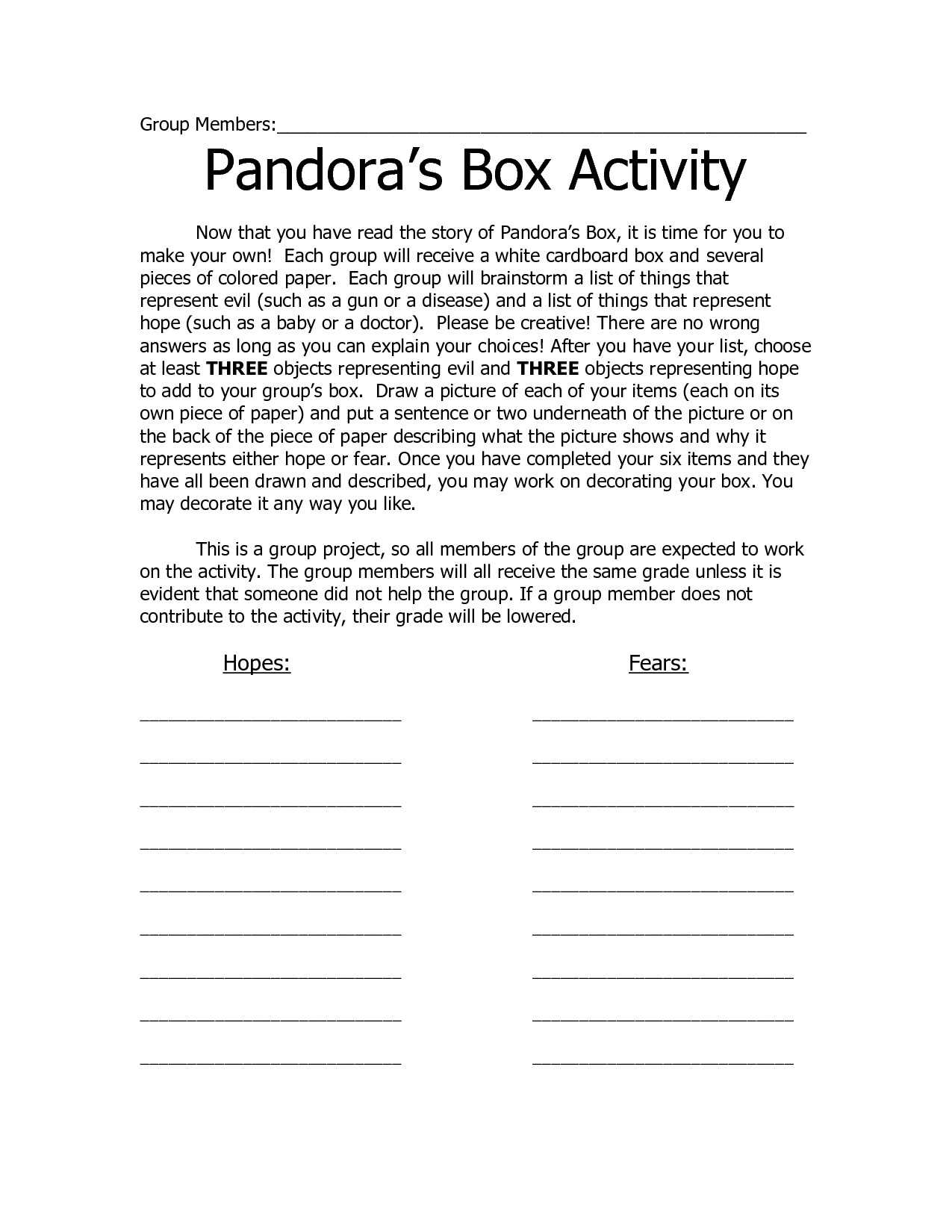 scope of work template pandoras box second grade. Black Bedroom Furniture Sets. Home Design Ideas