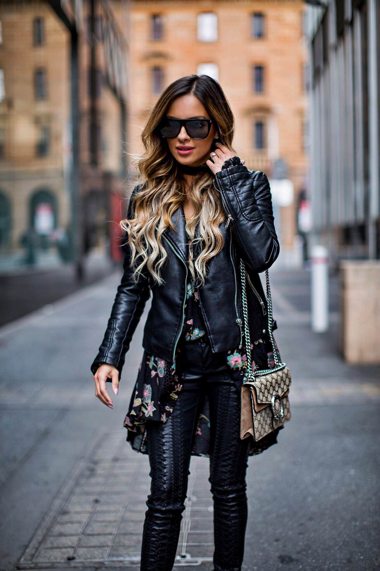 518669eaca47 Fashion blogger Mia Mia Mine wearing a free people black tunic dress and  Blank NYC embroidered leather pants from shopbop.com