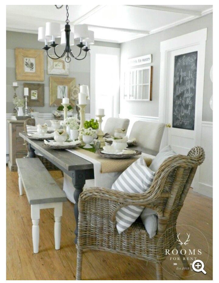 Dining table and whicker chairs