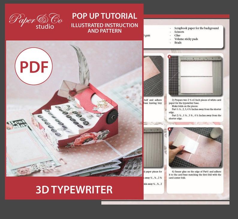 Typewriter Diy Pop Up Card Step By Step Tutorial And Pattern Etsy In 2021 Scrapbook Tutorial Digital Scrapbook Paper Scrapbook