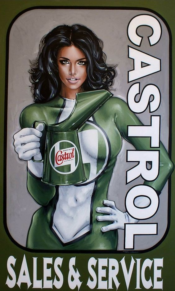 Photo of Castrol sales service garage workshop metal tin sign poster wall plaque