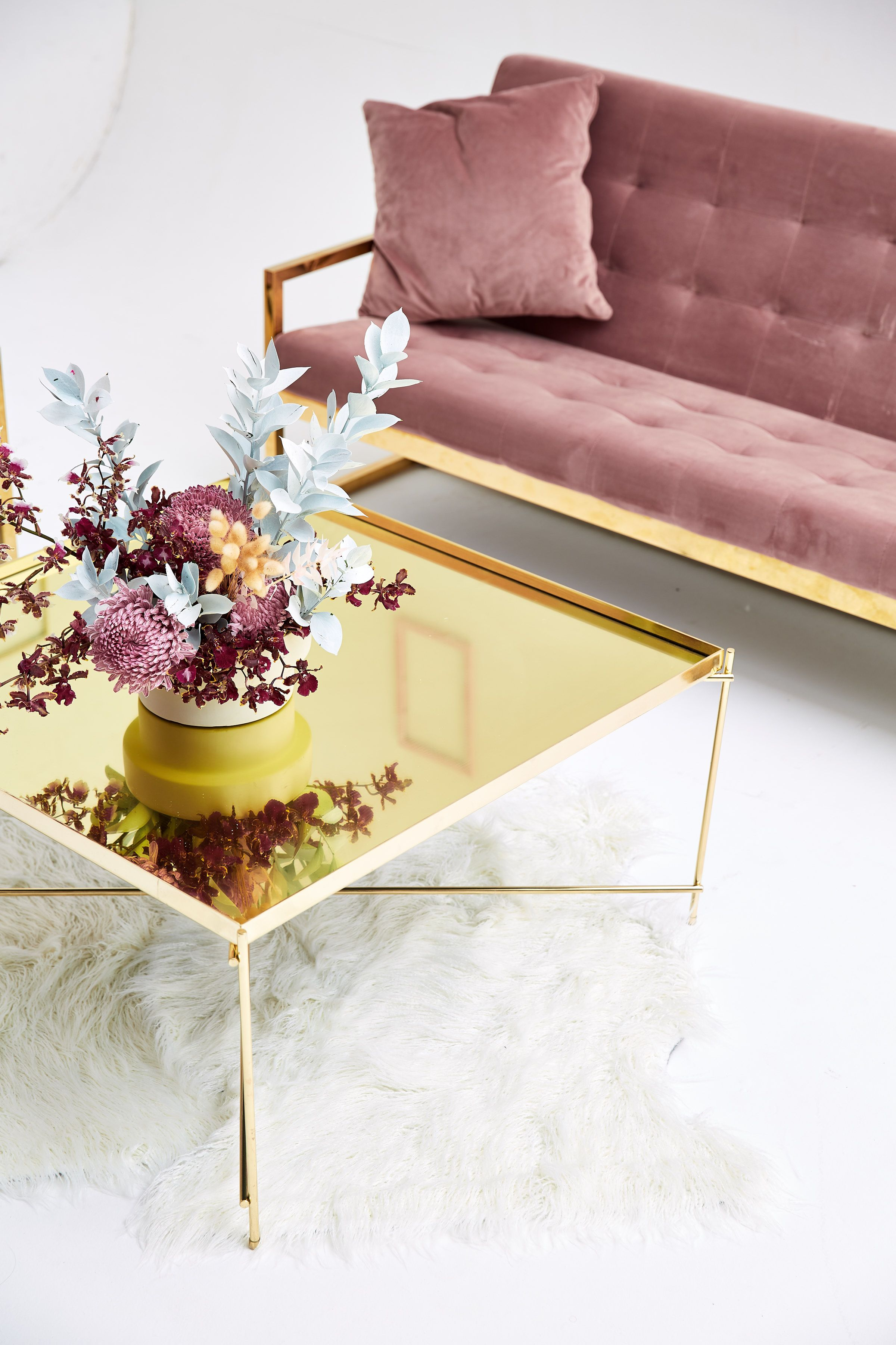 Mirrored Gold Coffee Table Available For Hire For Corporate Events