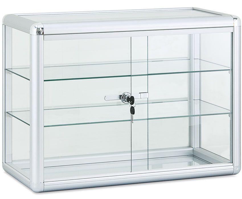 2 Shelf Aluminum Framed Showcase Http Www Tsisupplies Com Glass