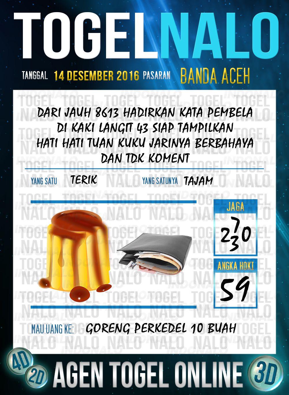 Tebak Lotre 2D Togel Wap Online Live Draw 4D TogelNalo Banda Aceh 14 Desember 2016