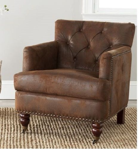 Small Club Chair Brown Worn Leather Look Low Back Tufted Office Den Accent  Arms #RusticPrimitive
