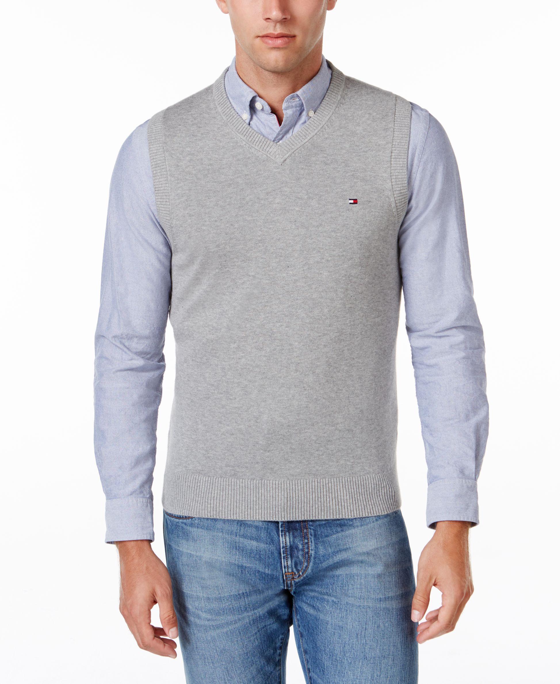 Tommy Hilfiger Men's Signature Solid V-Neck Sweater Vest ...