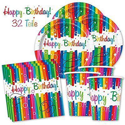 Happy Birthday PartyBox Rainbow - Das knallbunte Party Set für eine tolle Geburtstagsfeier - Ausstattung mit Teller, Becher, Servietten & Co. (Basic für 8 Gäste - 32-tlg.)