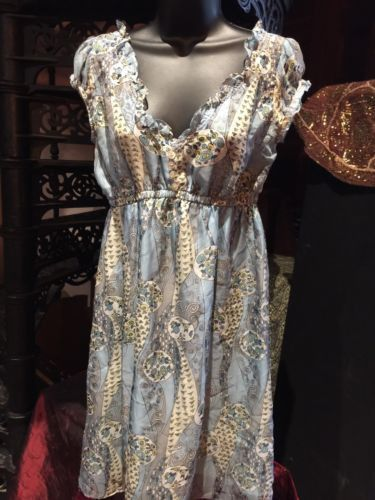 Vintage Style Nick and Mo Anthropologie Blue 100% Silk Flower Dress