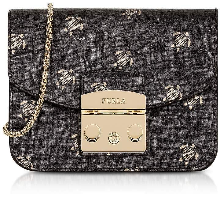 785a57c71f36 Furla Toni Onyx Mini Turtle Printed Saffiano Leather Metropolis Mini  Crossbody Bag