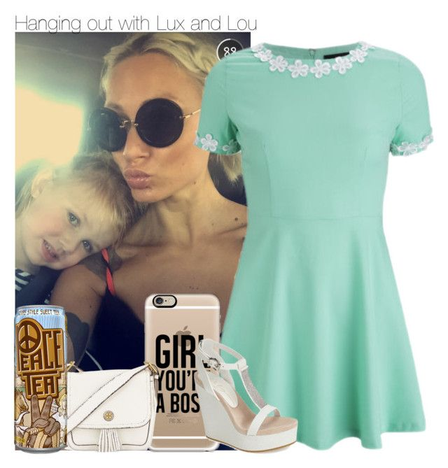 """""""Hanging out with Lux and Lou"""" by beccalynnward ❤ liked on Polyvore featuring AX Paris, Casetify, Lola Cruz and Tory Burch"""