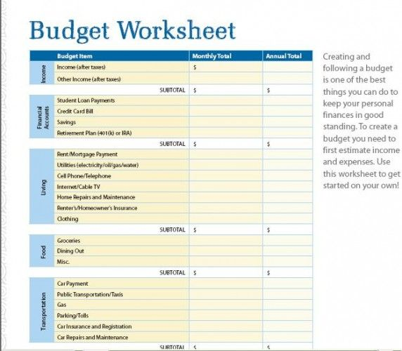 Example Of A Financial Worksheet : Seven free budget and financial organization printables