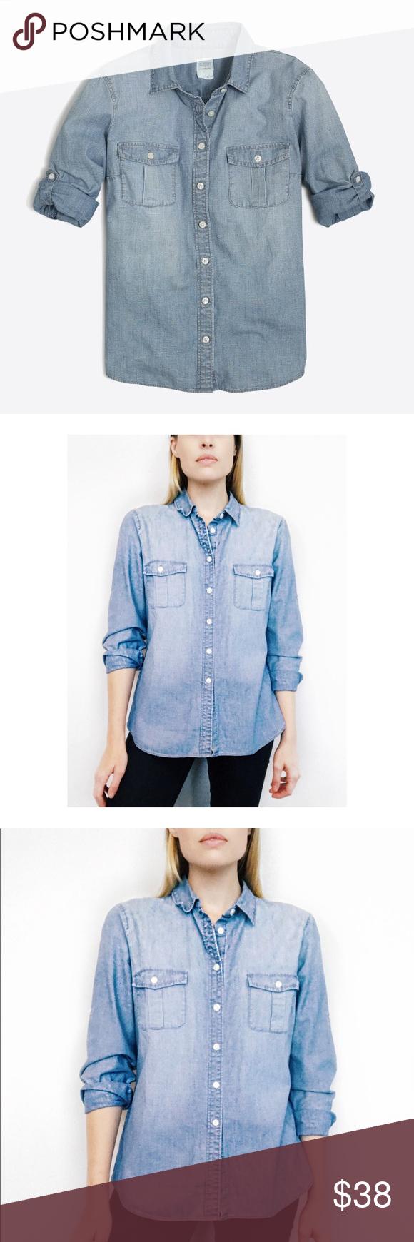 52f07f89 J.Crew 👱🏻 ♀ Perfect Fit Chambray Shirt Classic chambray shirt ...