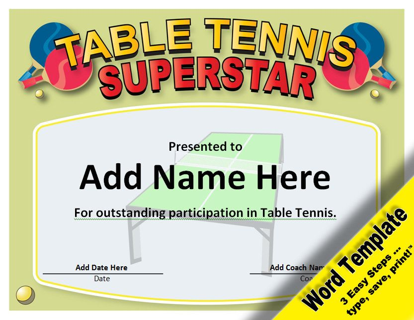 Table Tennis Award, Editable Word Template, Printable, Instant - Christmas Certificates Templates For Word