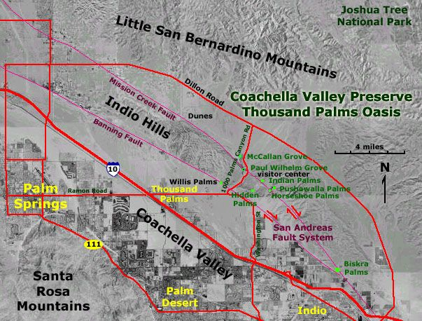 The Coachella Valley Preserve is located on the trace of the San