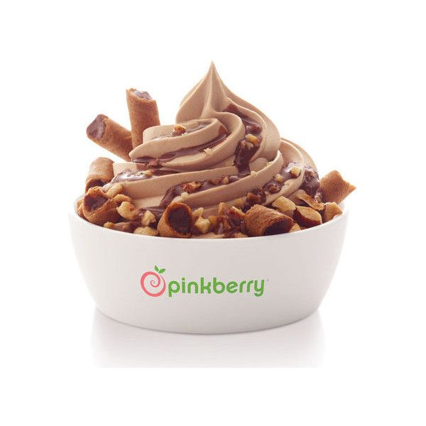 Pinkberry launch Limited Edition Chocolate Hazelnut flavour ❤ liked on Polyvore featuring food, dessert and filler