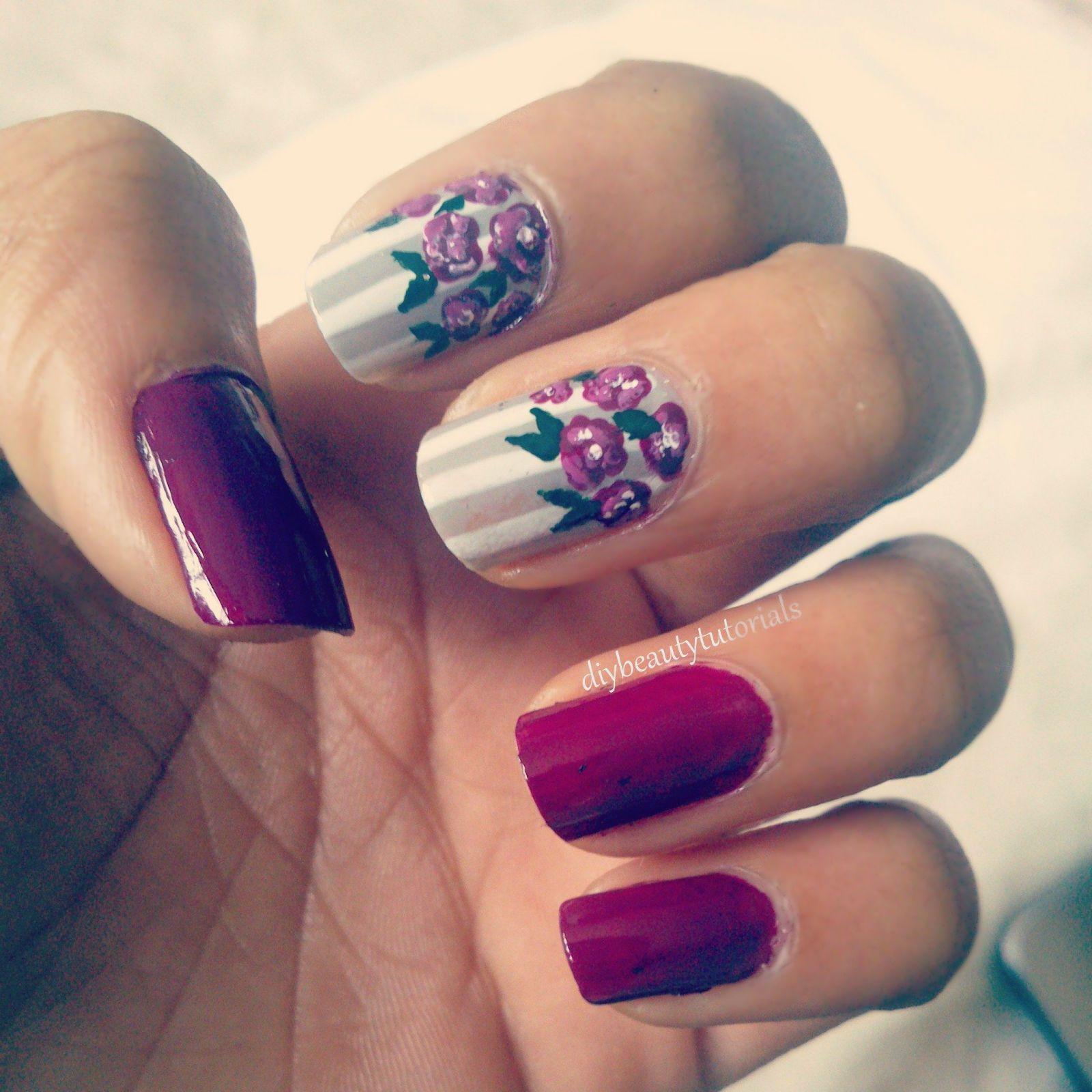 Floral spring nail art easy cute nail art designs pinterest