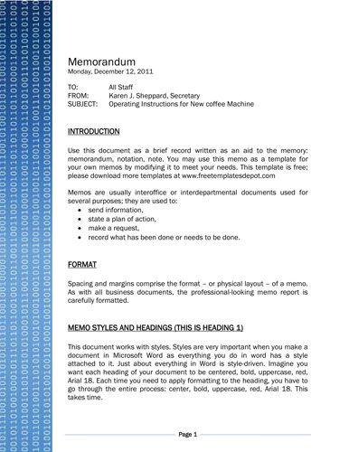 Binary Code Technology Theme Memo Template Memo Format Memorandum Template