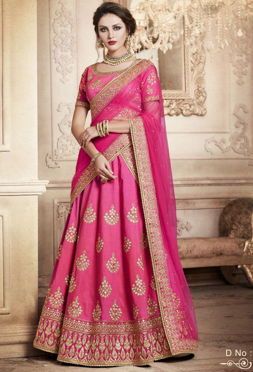 Pink Handloom Silk Indian Lehenga Saree For #engagement #Lehenga ...