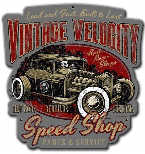 Blechschild Vintage Speed Shop D0970 Tee Shirts Garage