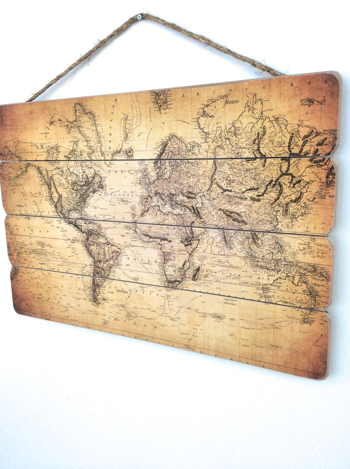 World Map, Rustic World Map, Map Decor, Rustic Home Decor, Wooden ...