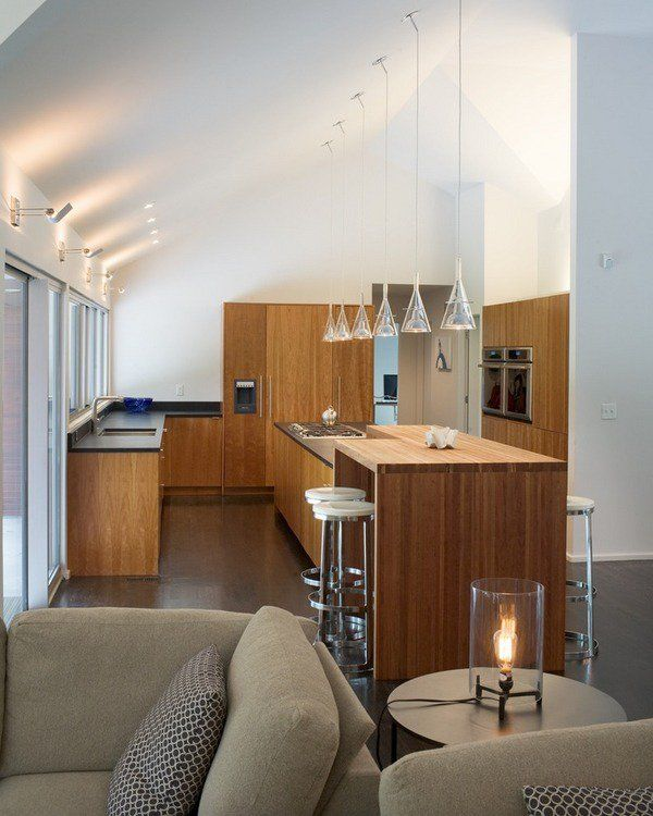 Modern Kitchen Vaulted Ceiling Lighting Modern Mini Pendants Over Entrancing Kitchen Pendant Lights Images Decorating Design