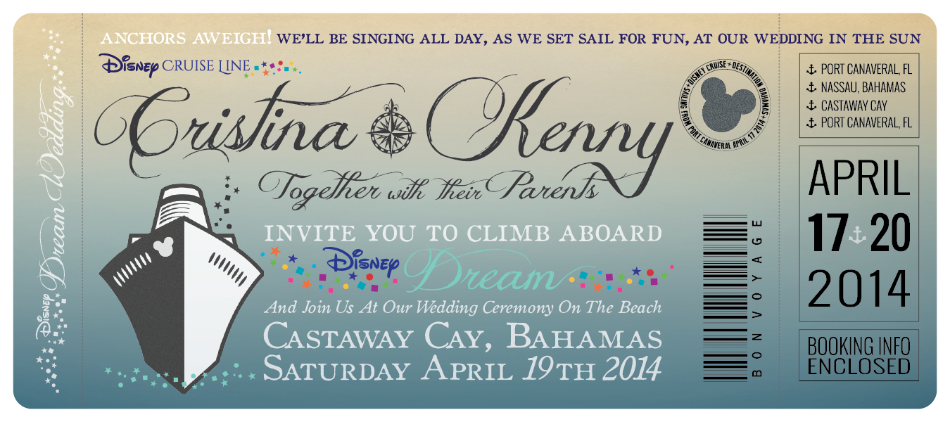 Disney Cruise Wedding Invitations by Great Heights Paper Hearts