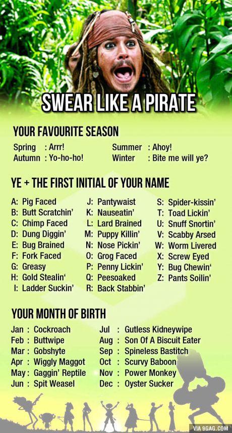 Arrr! Ye dung diggin' oyster sucker! Happy talk like a pirate day!
