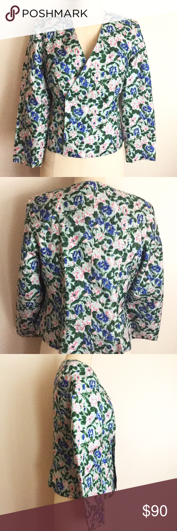 Vintage Silk Floral Print Jacket! Very modern and chic! Looks straight out of a Kate spade collection! Great condition! Measures 34 bust, 32 waist, 20 inches from top to bottom, sleeves 26 inches from centerback to wrist. Looks chic with white denim and sandals! Vintage Jackets & Coats Blazers