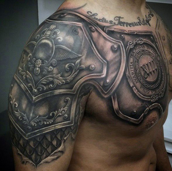 top 90 best armor tattoo designs for men - walking fortress