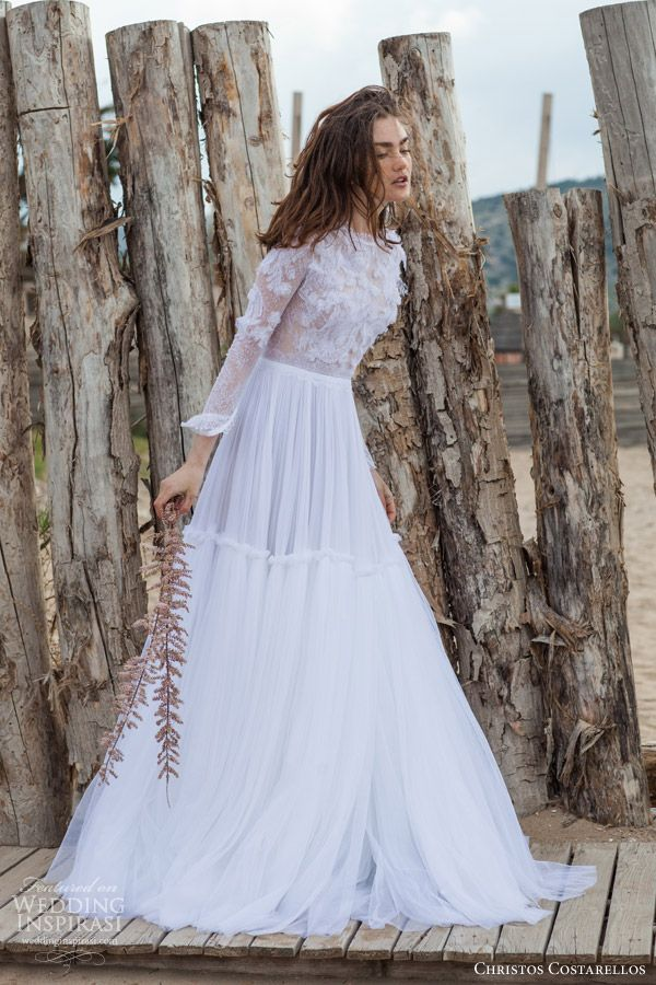 b3633a8889c christos costarellos bridal 2016 26 long sleeve wedding dress ruched a line  skirt full view