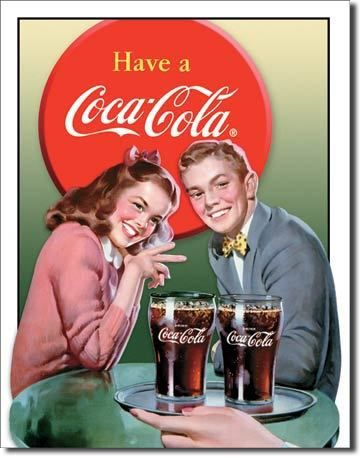 plaque publicitaire americaine vintage coca cola young couple americain vintage coca cola. Black Bedroom Furniture Sets. Home Design Ideas