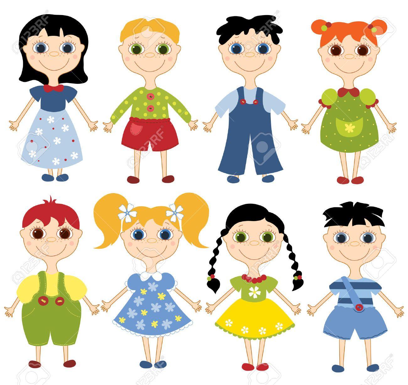 Conjunto de ni os de dibujos animados ocho ni os felices - Dibujos animados para bebes ...