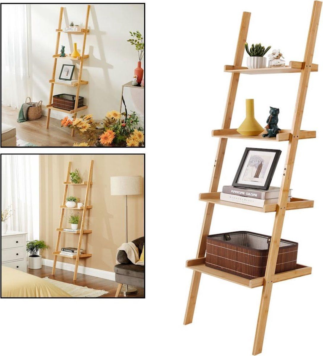 Decopatent Ladderrek Bamboe Hout Houten Decoratie Ladder Open Ladderkast Ladder In 2021 Decoratieve Ladders Bamboe Decoratie Thuisdecoratie