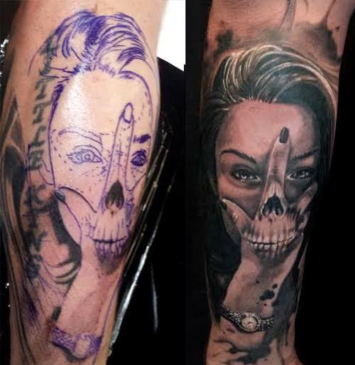 Chronic Ink Tattoo Toronto Tattoo Girl S Face And Hand Skull