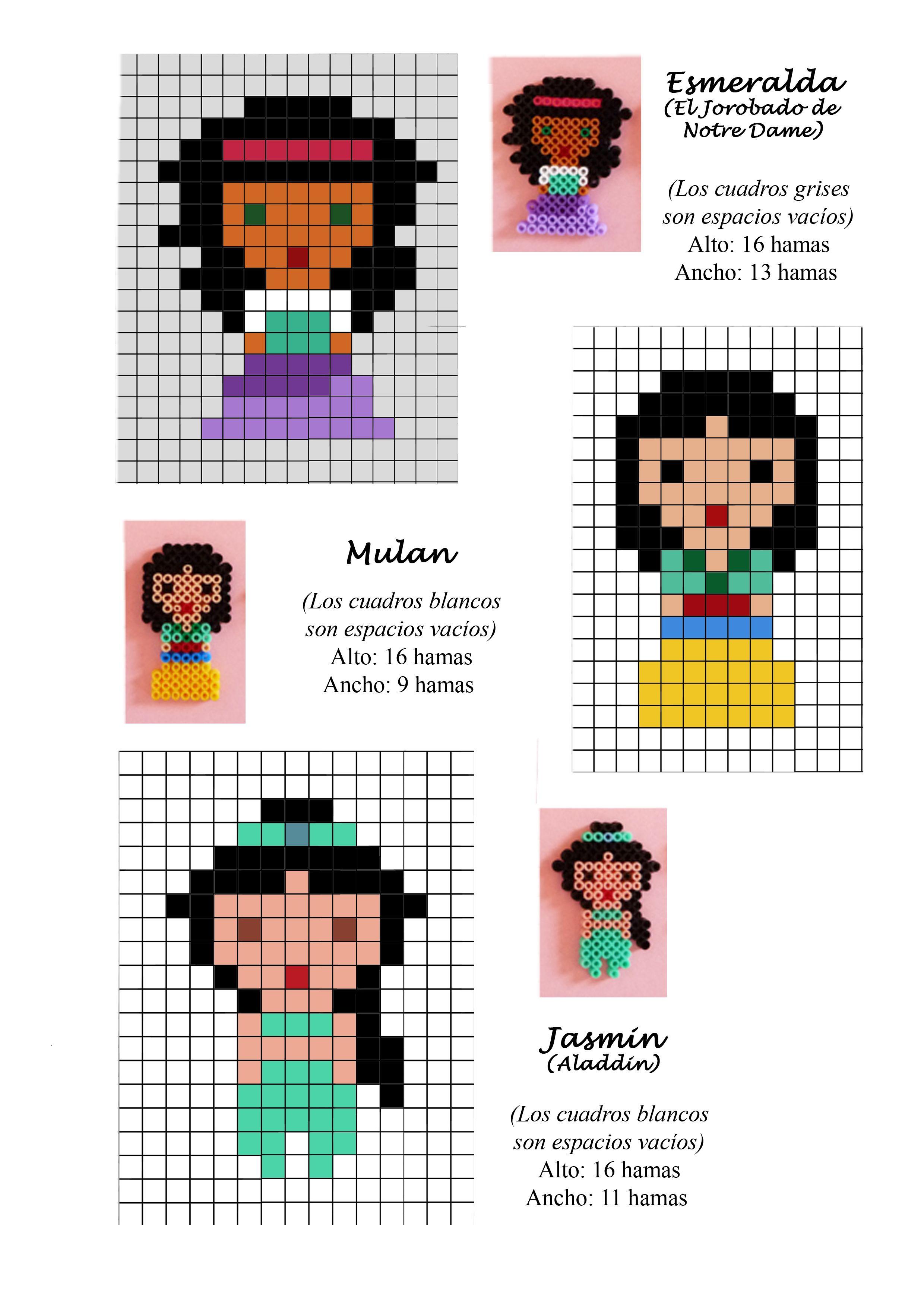 Disney Princess (Esmeralda, Mulan, Jasmine) hama beads pattern ...
