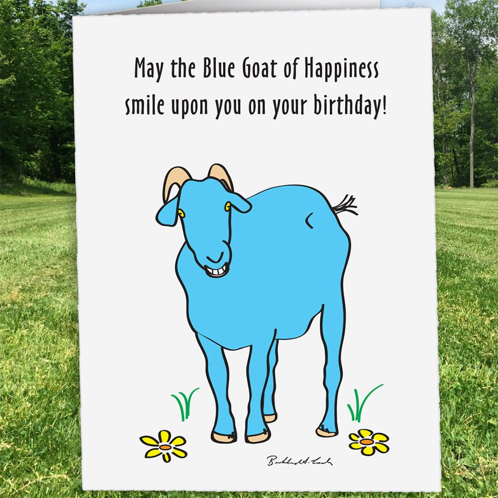 Blue Goat of Happiness Birthday Birthday Card Goat Card Custom – Custom Happy Birthday Card
