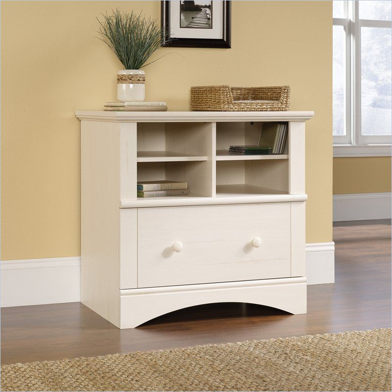 1 Drawer Lateral Wood File Cabinet in Antique White - Harbor View 1 Drawer Lateral Wood File Cabinet In Antique White