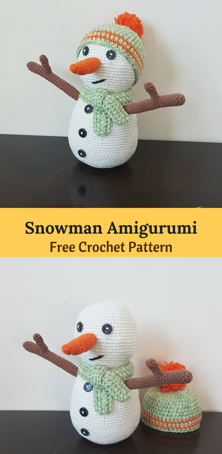 Crochet knitted snowman: photo, description, scheme 34