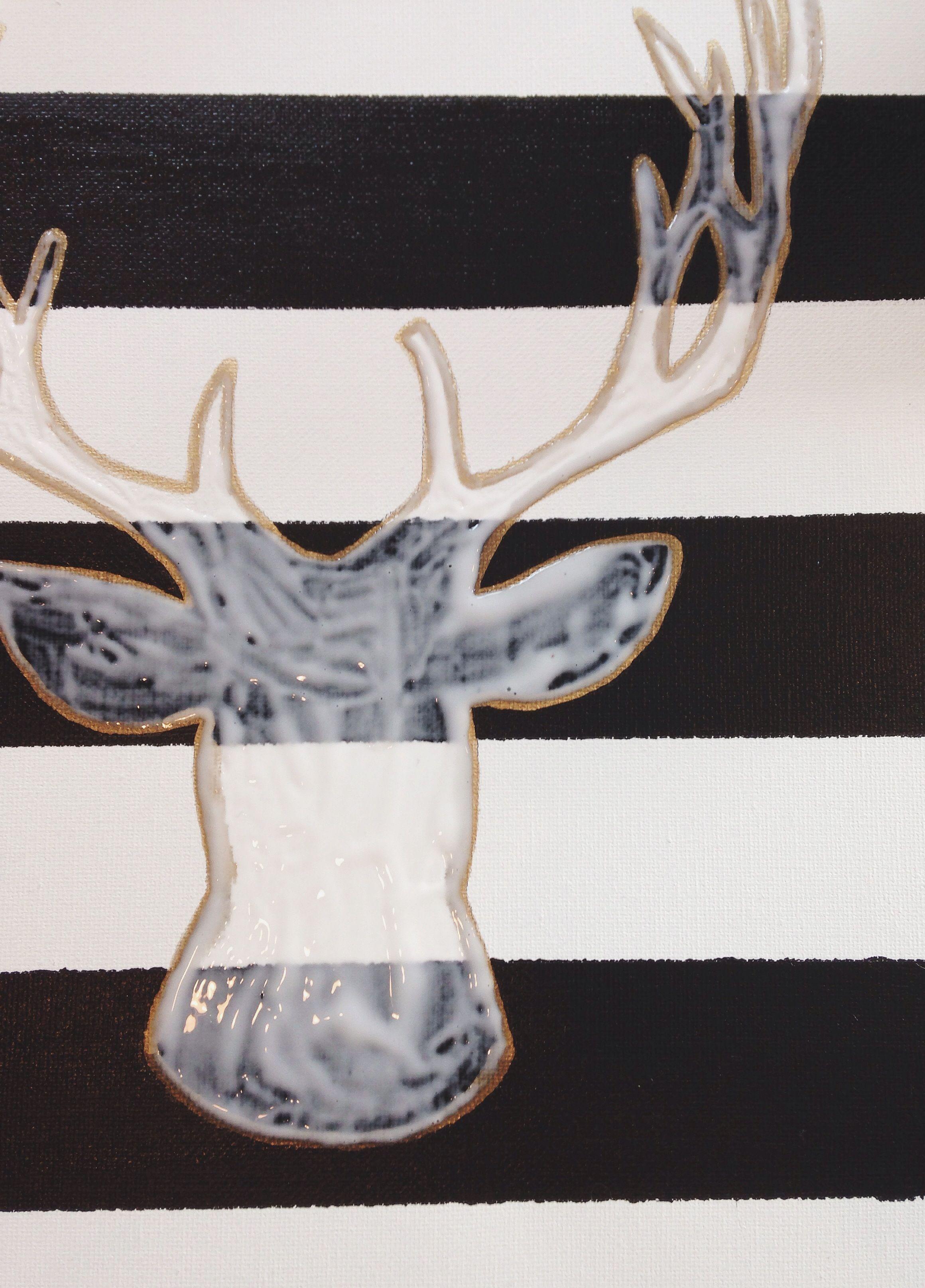 Diy glitter head deer diy christmas canvas glitter diy