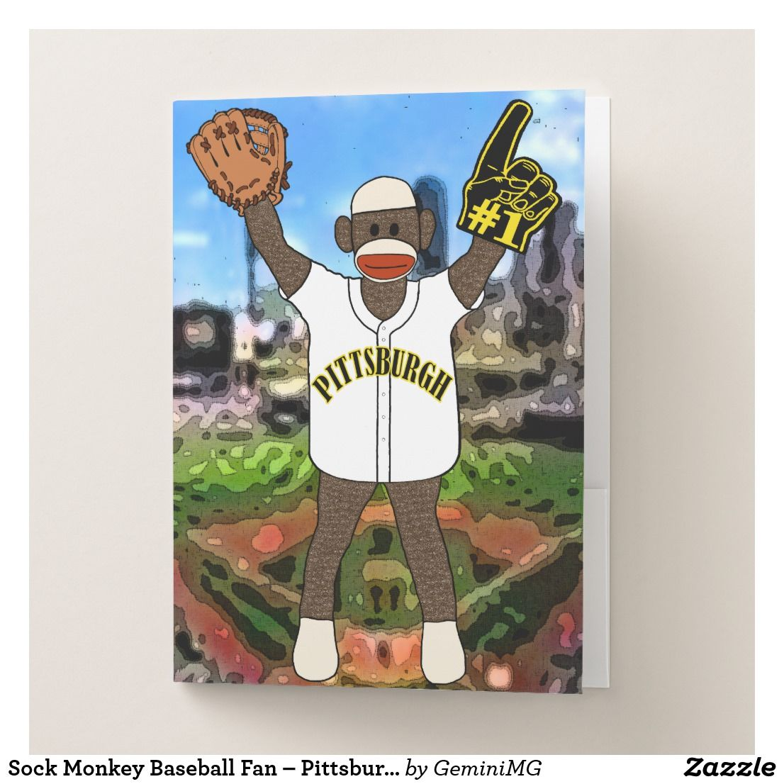 Sock Monkey Baseball Fan – Pittsburgh Pocket Folder | Zazzle.com #sockmoneky