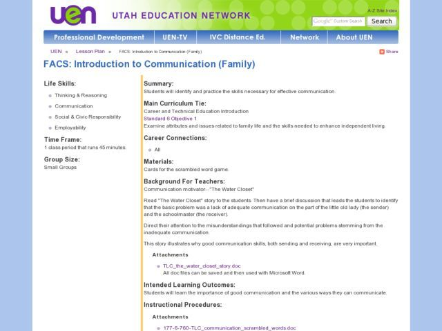 FACS: Introduction to Communication (Family) Lesson Plan   Lesson ...