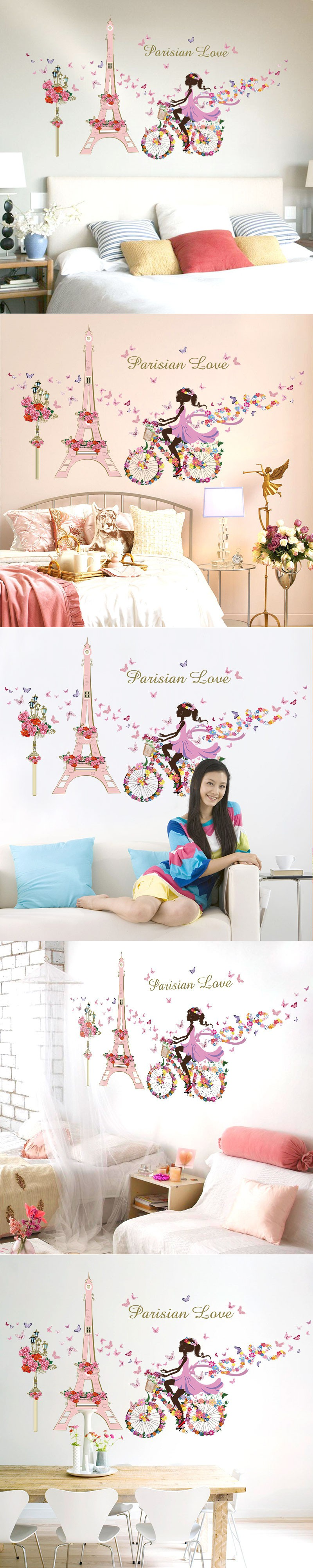removable flower fairy girl bicycle wall sticker princess cycling removable flower fairy girl bicycle wall sticker princess cycling eiffel tower butterfly kids room decor child