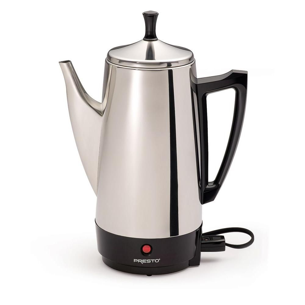 Presto 12 Cup Stainless Steel Percolator Silver Stainless Steel Coffee Maker Camping Coffee Percolator Coffee Maker
