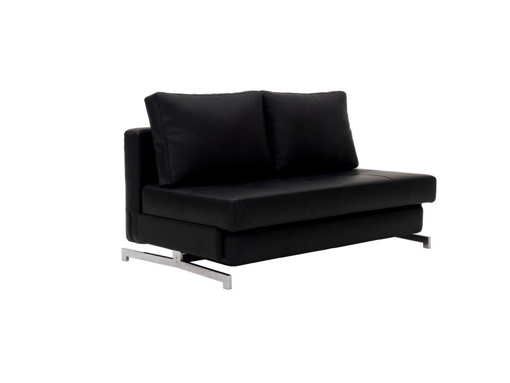 Modern Black Leather Textile Queen Sofa Sleeper K43 2