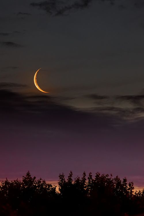 The Slivered Golden Moon Hangs In The Silence Of The Night Sky Nature Beautiful Moon Beautiful Nature