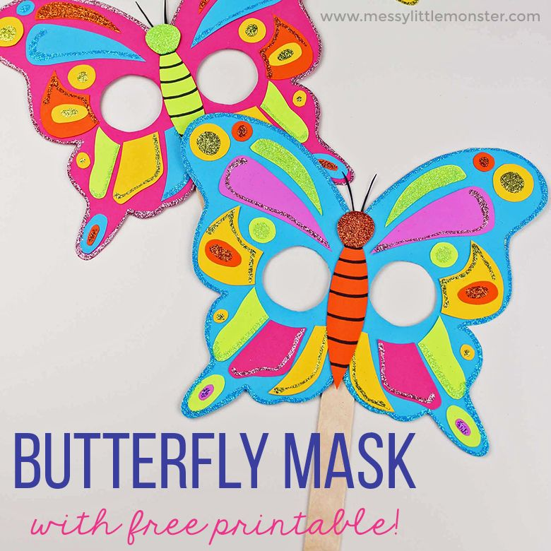 Butterfly Mask Craft with Free Printable Butterfly ...