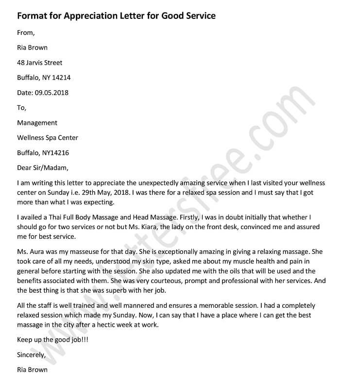 sample letter to appreciate for good work