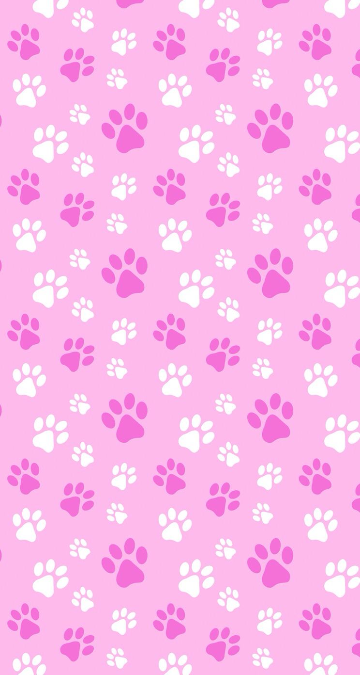 Puppy Or Kitten Pink Print With Paw Marks Paper Pattern