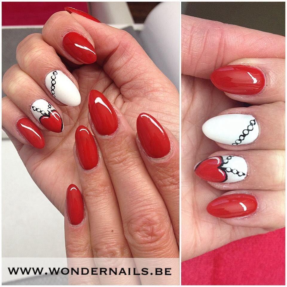 Valentine nails ❤ Heart accentnail ❤ stiletto nails   GelNails ...